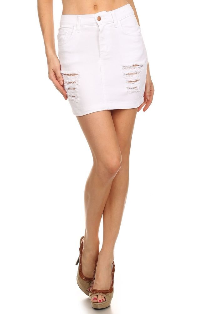 Womens Ripped Frayed Distressed Denim Skirt Ladies High Waist Fancy Midi Skirt
