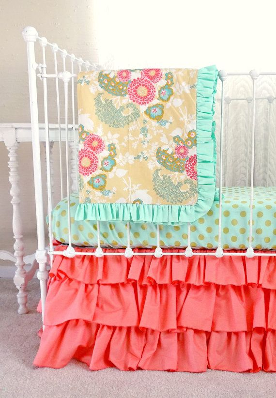 Coral Buttercup Bumperless Baby Bedding With Images Coral Baby