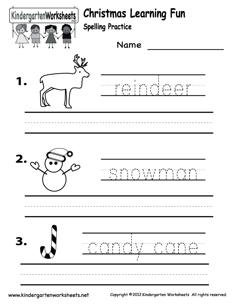 Kindergarten Christmas Worksheets Christmas Spelling Worksheet