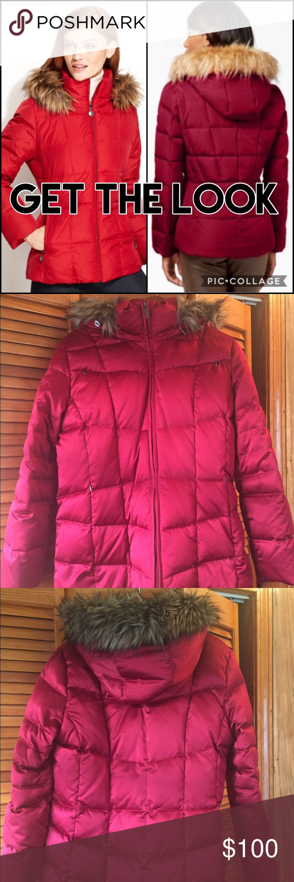 Calvin Klein Faux Fur Lined Quilted Puffer Coat Red Calvin Klein down coat. Size L. Has only been worn a handful of times, it is in excellent condition. The coat is lined with a very soft, dark chocolate brown faux fur lining. The filling is 80% down, 20% feathers. It comes with a detachable hood. The hood also has a faux fur trimming on it. It's has 2 pockets on the inside (see photo #4). The coat hits at around the hips. This is a perfect coat for those cold winter days. ❄️❄️ Calvin Klein…