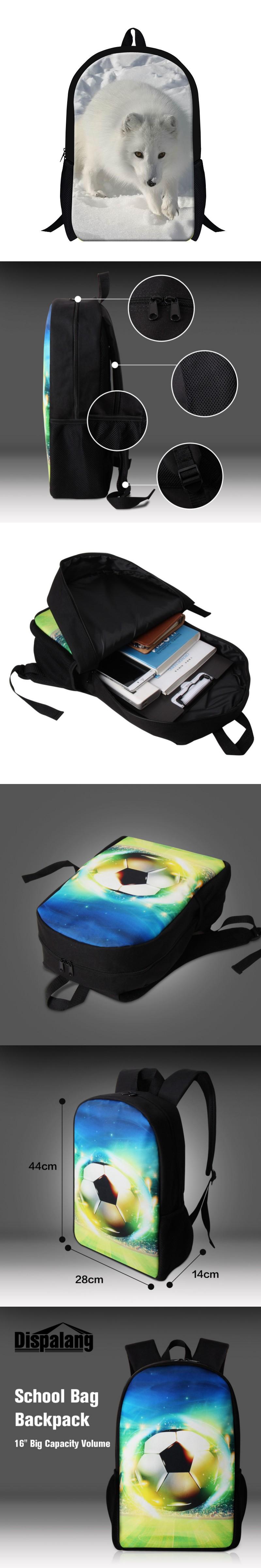 New Arrival Cool 3D Animal Fox Print Children School Bag Casual Mens Travel Shoulder Backpack Kids School Book Bag Free Shipping
