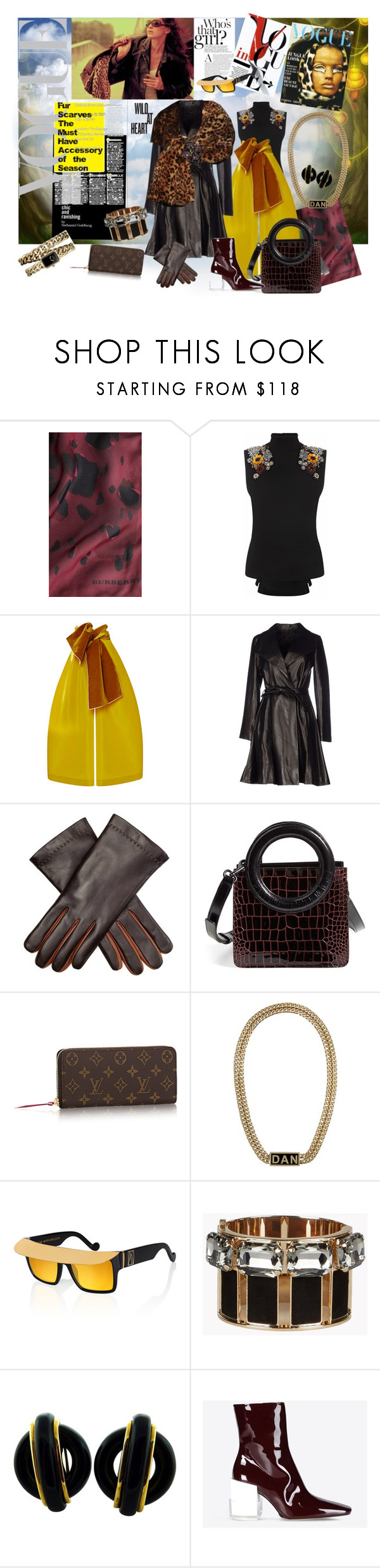 """Fur Scarves the must-have of season. Jungle look."" by inga-baltic on Polyvore featuring Burberry, Alexander McQueen, Rosie Assoulin, The Row, Dsquared2, Opening Ceremony, Anna-Karin Karlsson, Cartier, Maison Margiela and Chanel"
