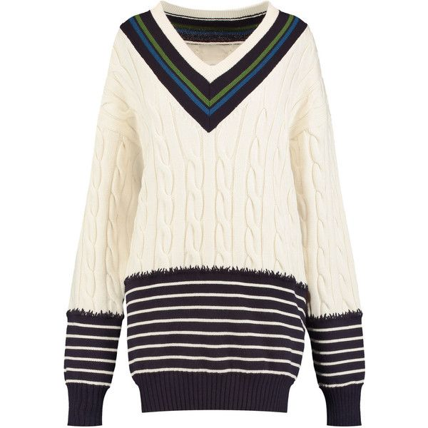 Maison Margiela Paneled striped and cable-knit wool sweater ($505) ❤ liked  on
