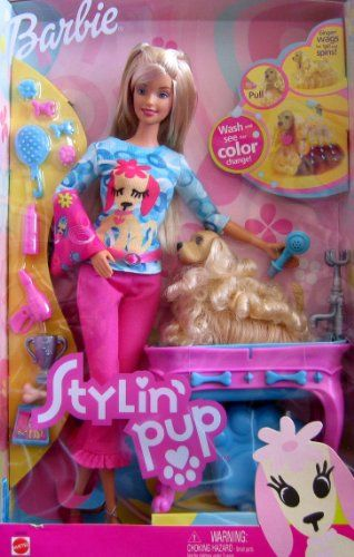 Stylin Pup Barbie Doll W Color Change Pup Ginger Bath With