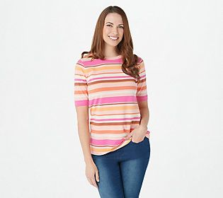 Worn with jeans, it's a classic choice. Worn with shorts, it's a weekend warrior. Worn under a blazer, it's unexpectedly chic. Basically, this striped knit top is everything you never knew you needed. From Isaac Mizrahi Live!TM.