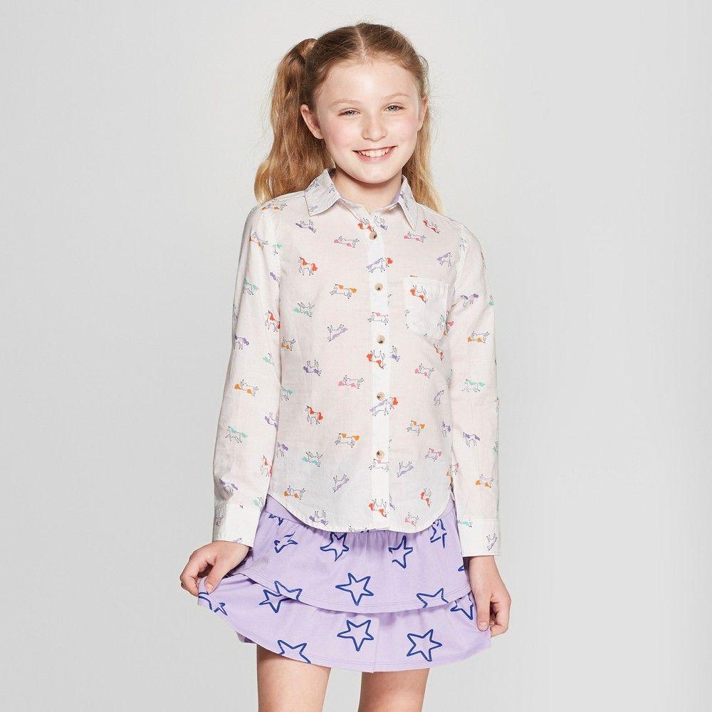 13bd2a868f8 Girls  Unicorn Woven Long Sleeve Button-Down Shirt - Cat   Jack Cream Xxl  Plus