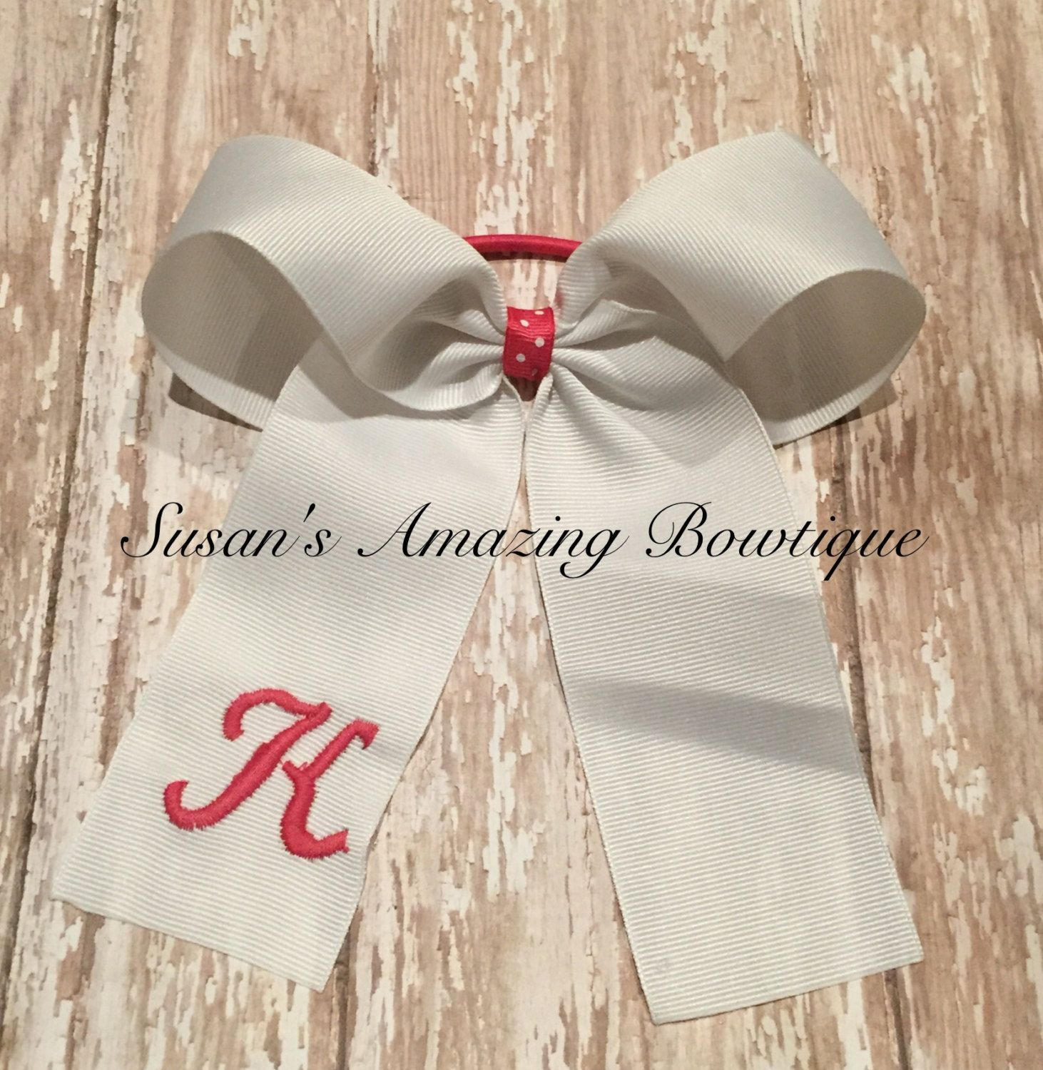 Personalized long tail cheer bow (any colors) by susansamazingbows on Etsy