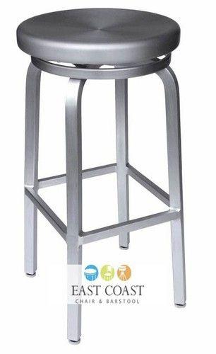 Navy Style Outdoor Aluminum Backless Swivel Bar Stool Ebay With
