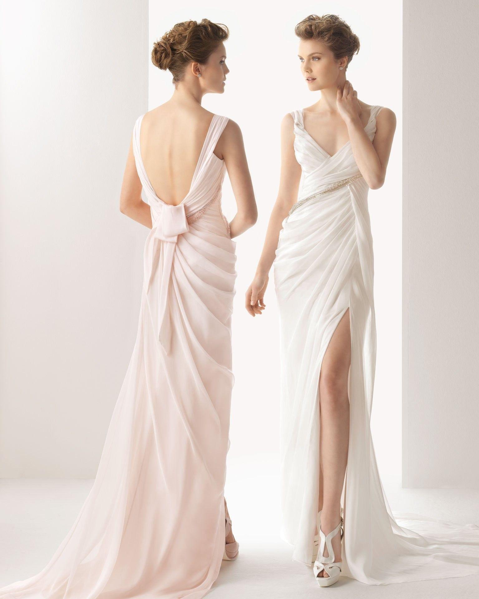 Sexy sleeveless sweep train beaded satin wedding dress a