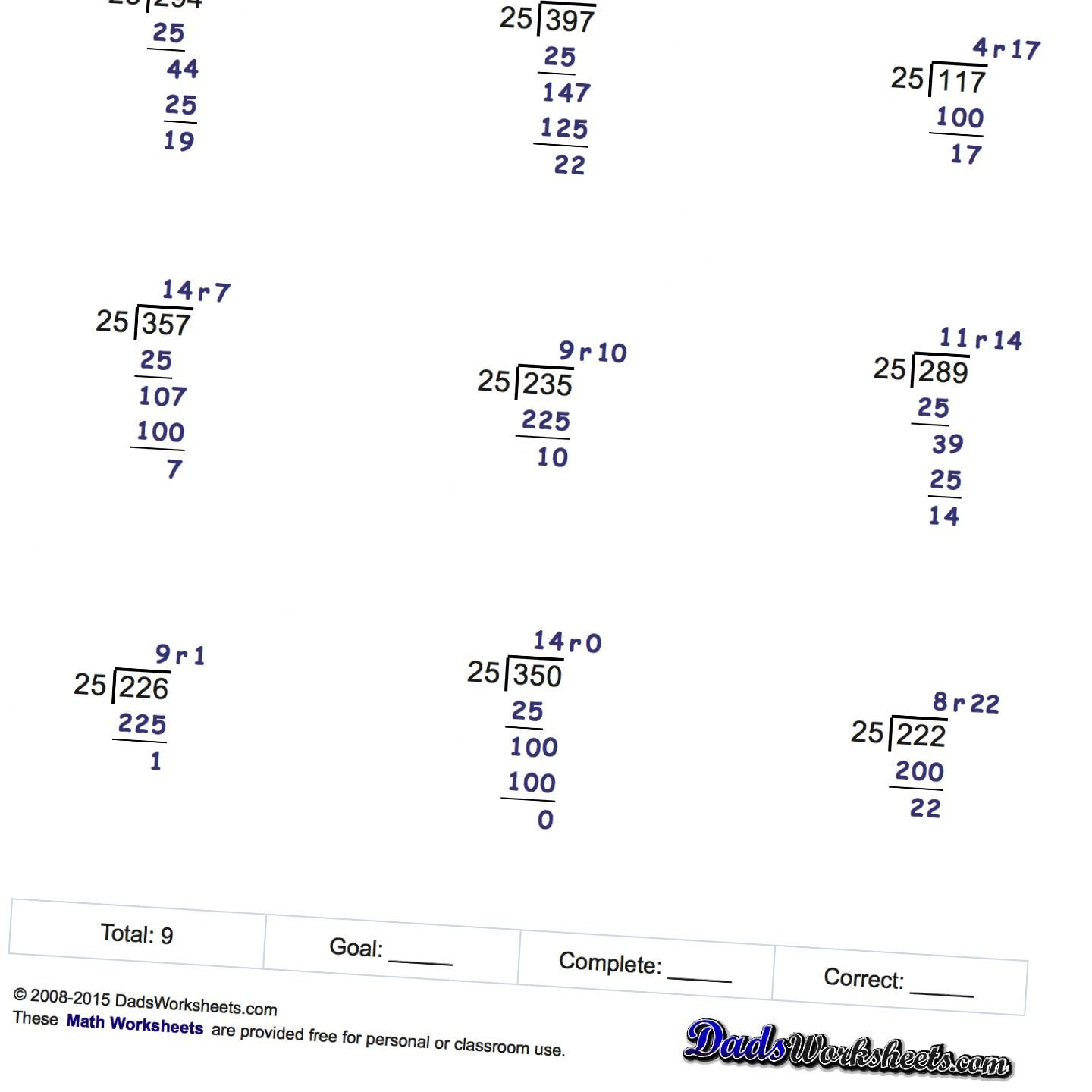 Free Printable Long Division Worksheets At