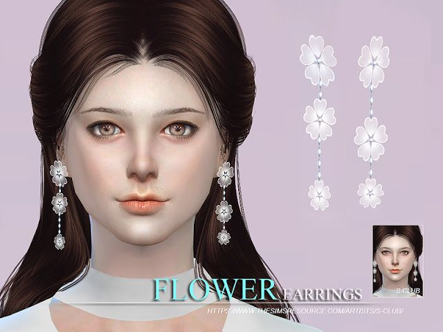 Sims 4 CC's - The Best: S-Club WM thesims4 flower earrings
