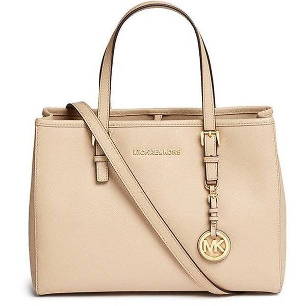 a53d08ace92e Michael Kors Jet Set Travel medium saffiano leather east west tote ( 375) ❤  liked on Polyvore featuring bags