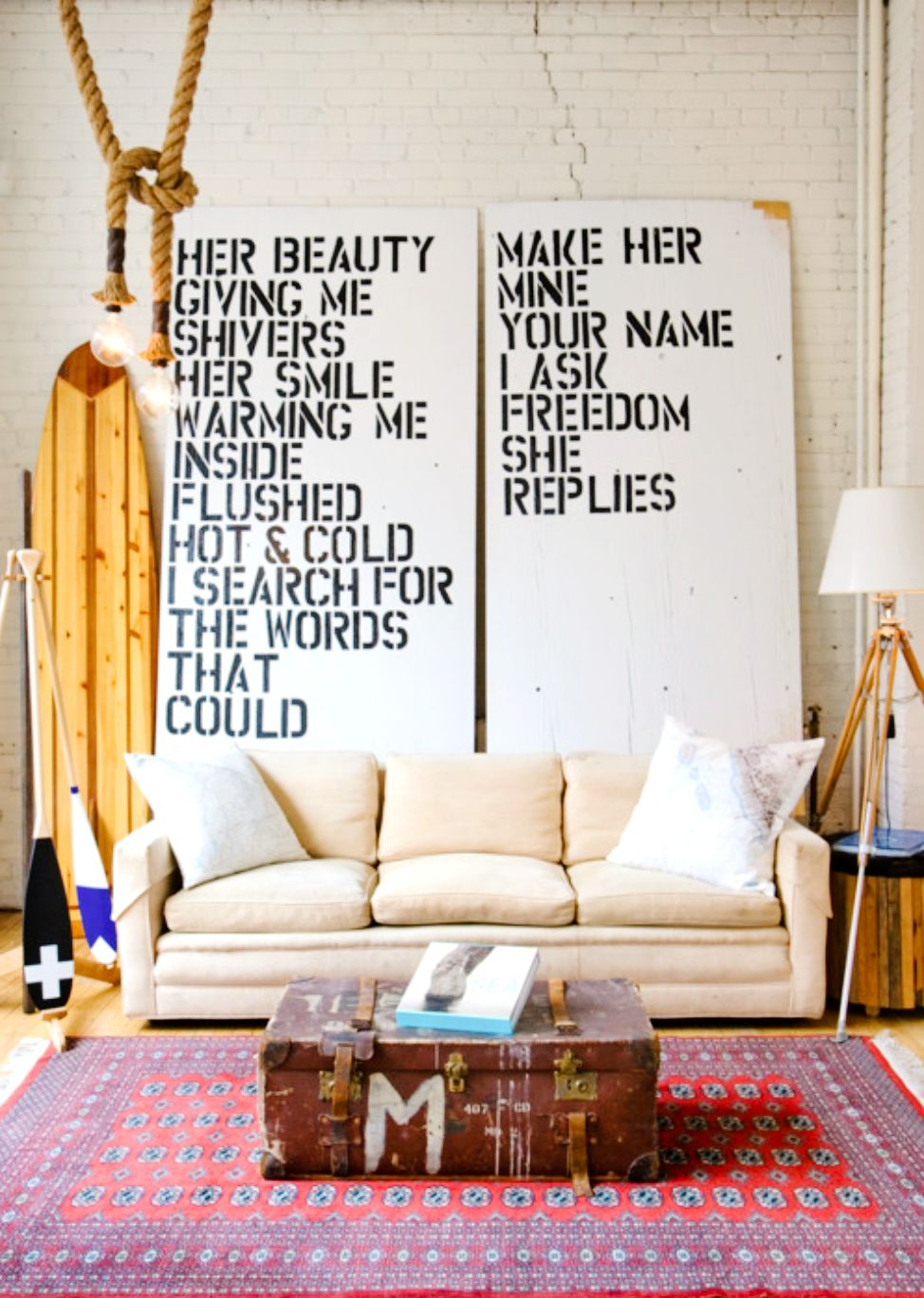 Your Favorite Quotes Are Now Words of Art   White brick walls, Trunk ...