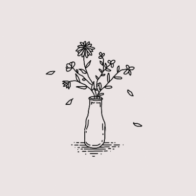 Simple drawing flowers in a vase