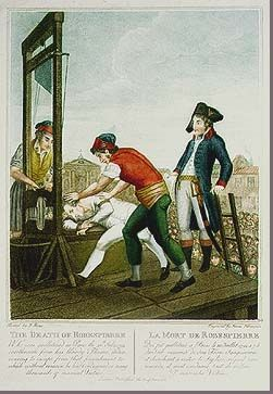 """The Death of #Robespierre. This engraving, based on a color portrait by Beys, depicts the death of Robespierre on the guillotine. The executioners wear not the traditional hangman's hood but red bonnets representing liberty. This judgment notes Robespierre's failure to the Revolution itself. Contemporaries emphasized that Robespierre's punishment was just because it was the same to which """"he had condemned so many thousands of innocent victims."""""""