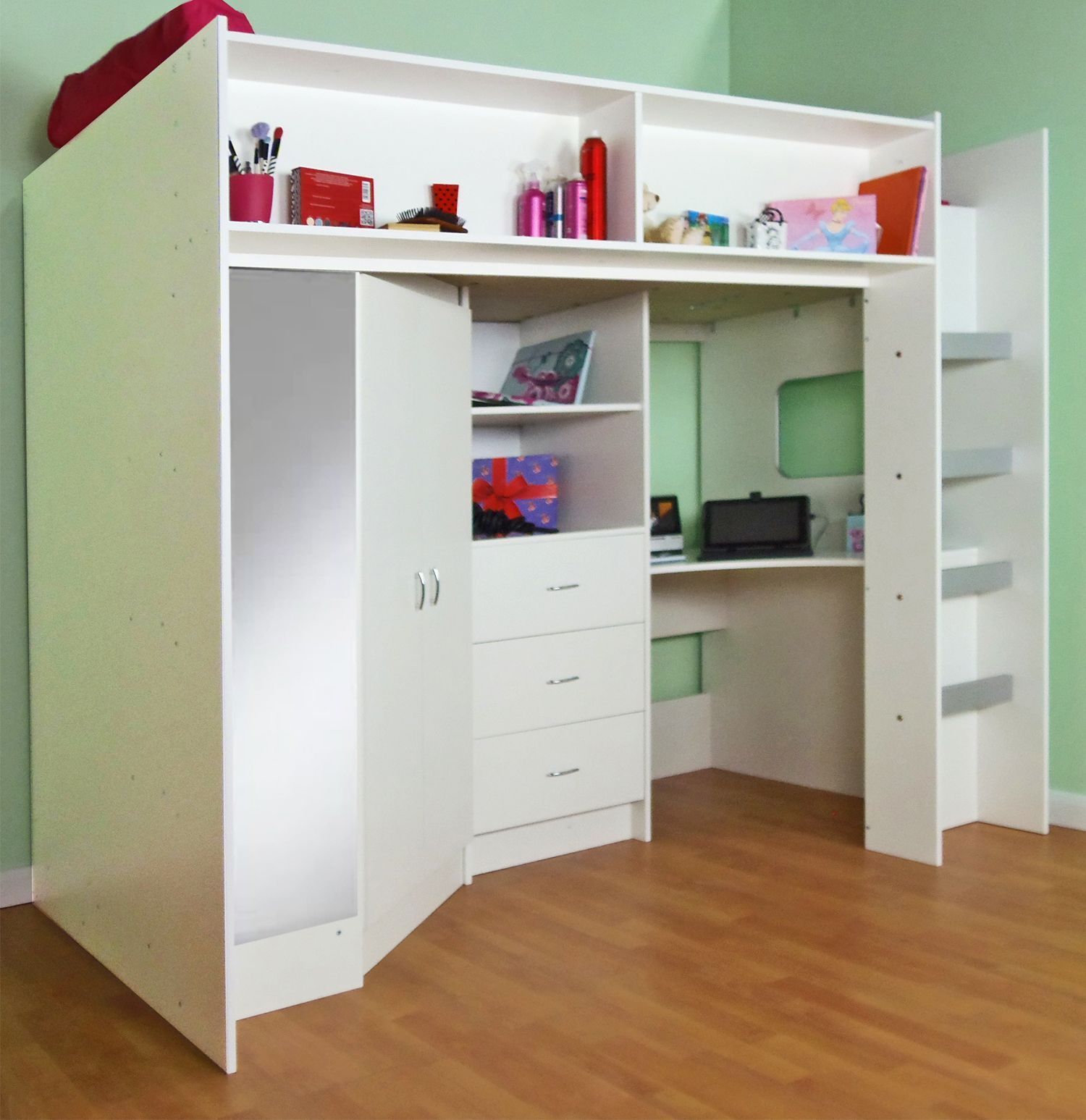 High sleeper cabin bed, with desk and wardrobe.