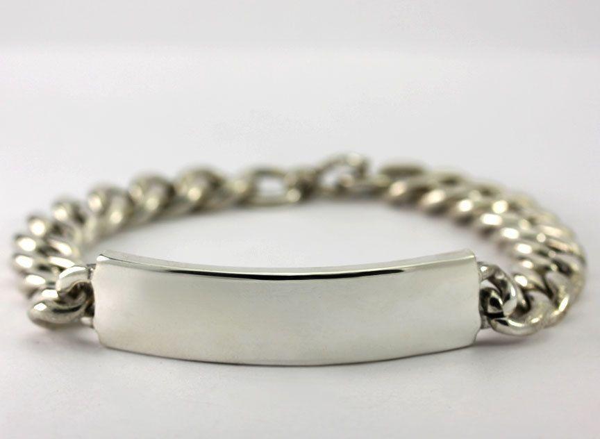 1c24a5059c187 Details about ID Bracelet Curb Cuban Chain Engravable Name Plate Bar ...