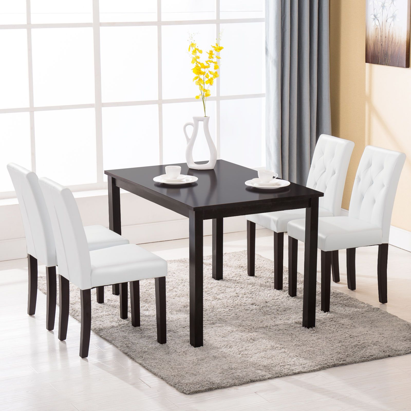 5 Piece Wood White Dining Table Set 4 Chairs Room Kitchen Breakfast Furniture Sturdy Structu Unique Dining Room Kitchen Table Settings Unique Dining Room Table