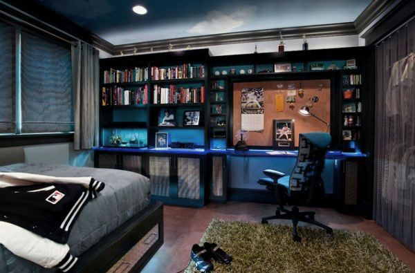 I Love The Blue Wall With The Black Shelves But Most Of