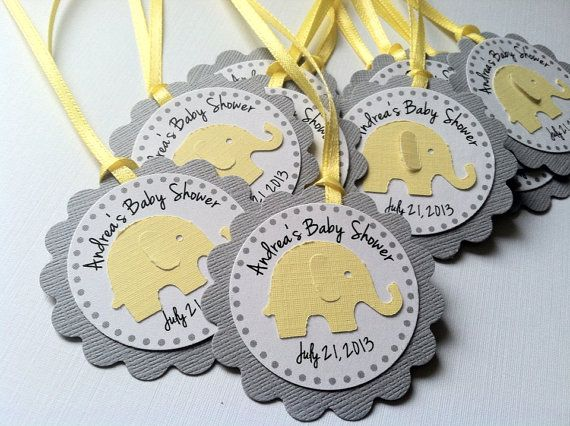 Baby Shower Elefante Amarillo ~ Yellow and grey elephant personalized tags perfect for baby