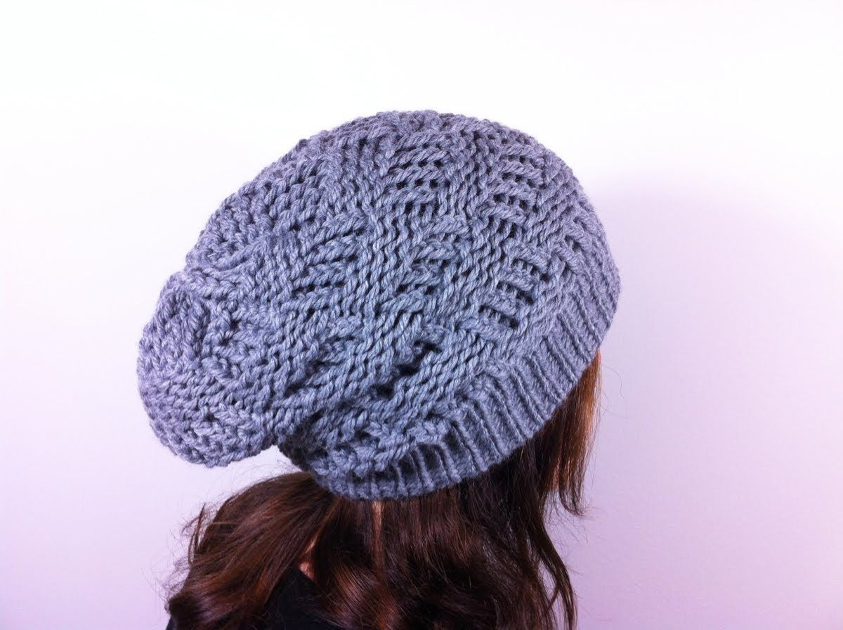How To Loom Knit A Basket Weave Slouchy Beanie Hat Diy Tutorial