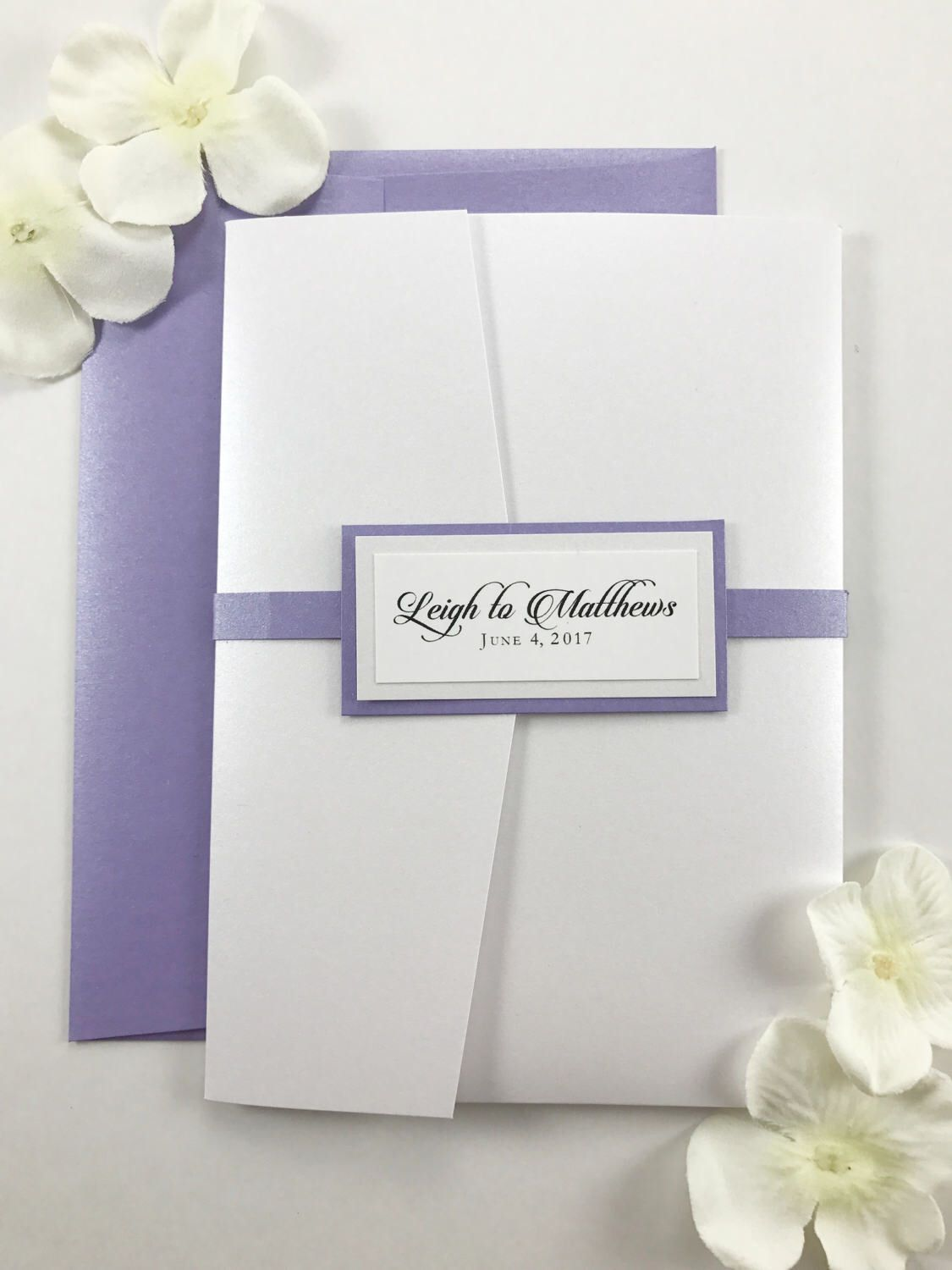 White Pocket Card Invitation, Purple and Pearl Wedding Invites with ...