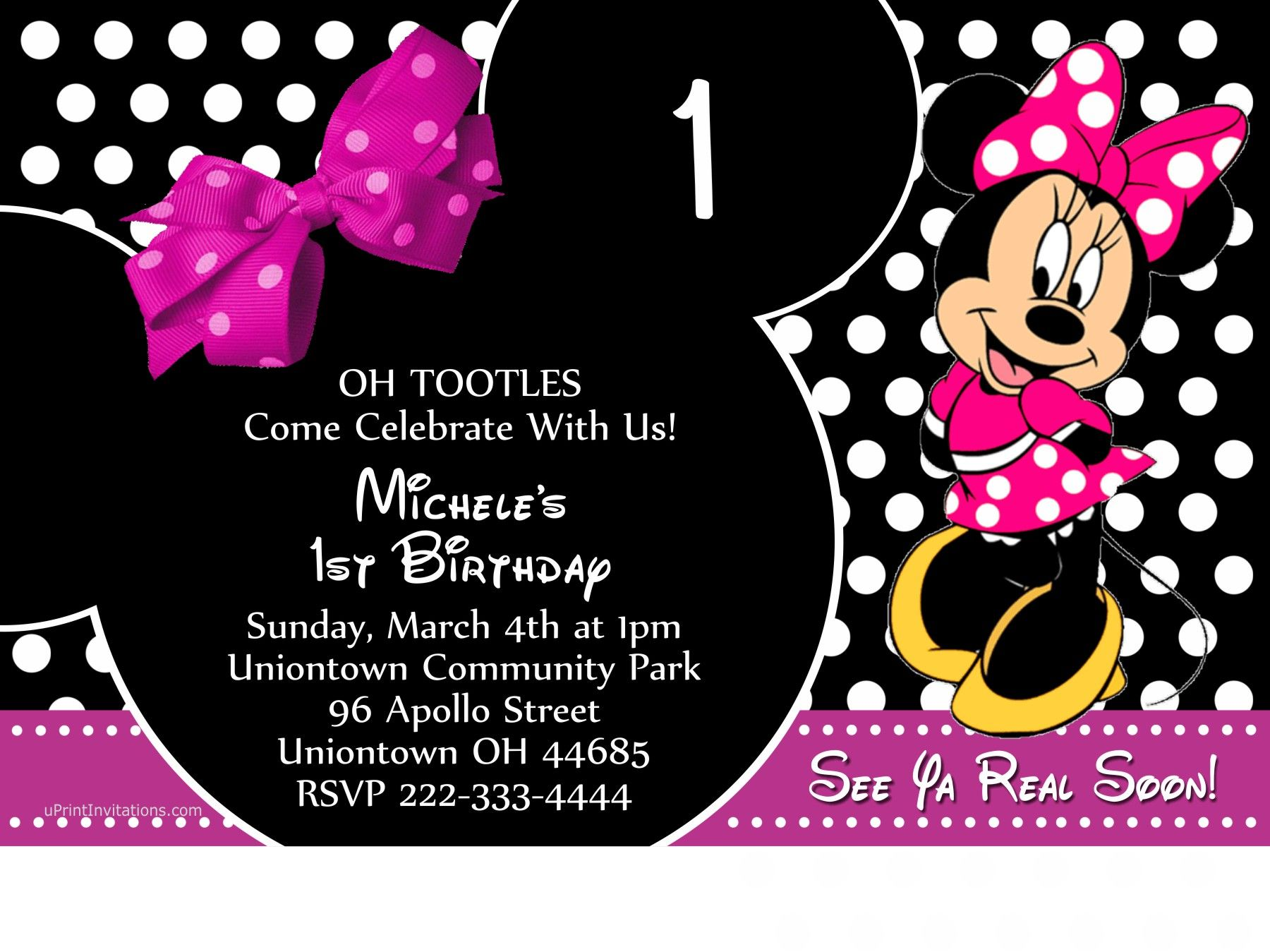 Minnie Mouse Bow Party Birthday Invitations ALL COLORS - Choose Your ...