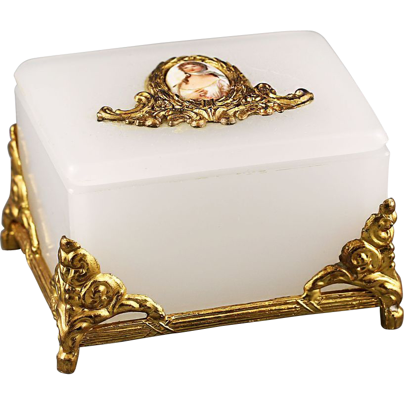 22k Gold Plate Opaque Opaline Glass Trinket Box Glass Trinket Box Trinket Boxes Jewelery Box