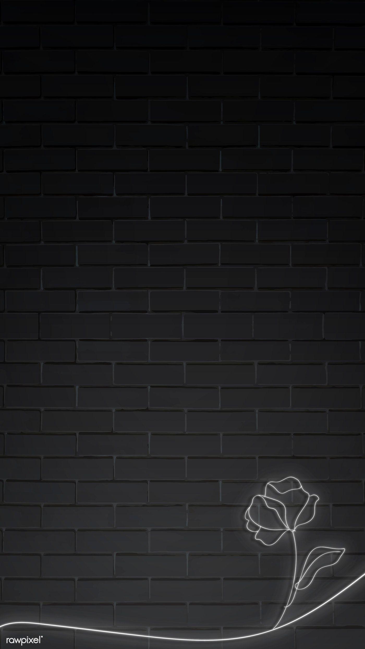 Download Premium Vector Of Neon Lights Flower On Black Brick Wall Mobile Black Brick Wall Neon Wallpaper Black Background Wallpaper