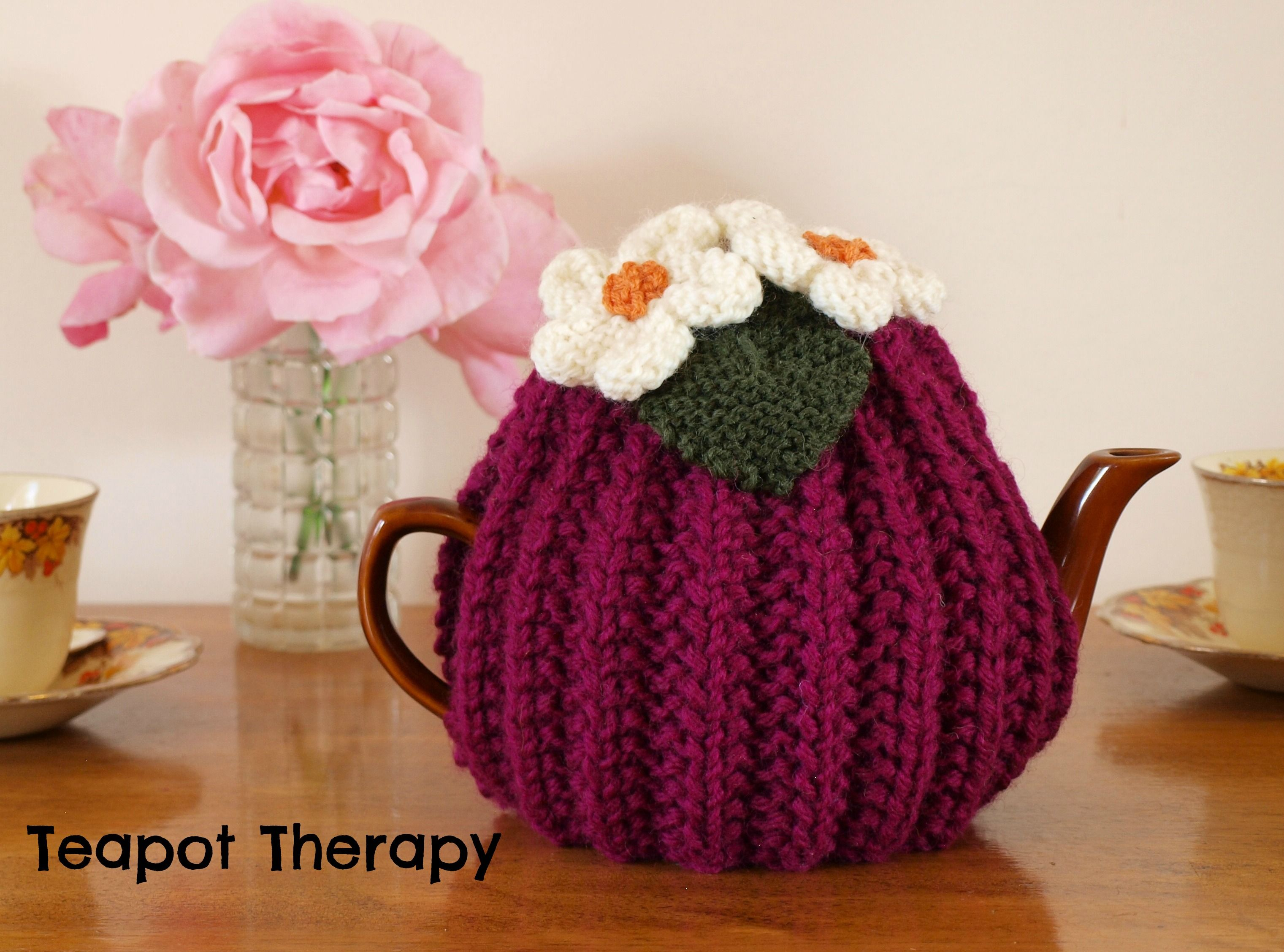 Magenta Ribbed Tea Cosy hand knitted by Teapot Therapy ...