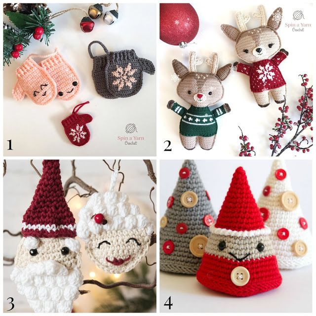 Little Treasures: 4 Cute Christmas Crochet Ornaments - free patterns ...