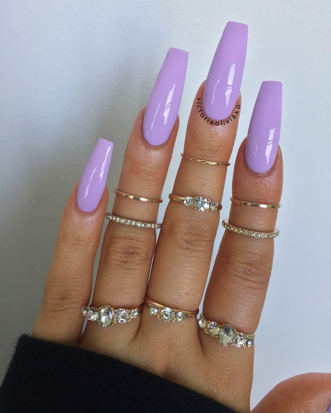 Princessnedji Purple Acrylic Nails Lilac Nails Plain Acrylic Nails