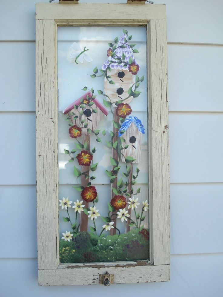 Transom Window Hand Painted Bird Houses Painting On Glass Windows Old Window Art Window Crafts