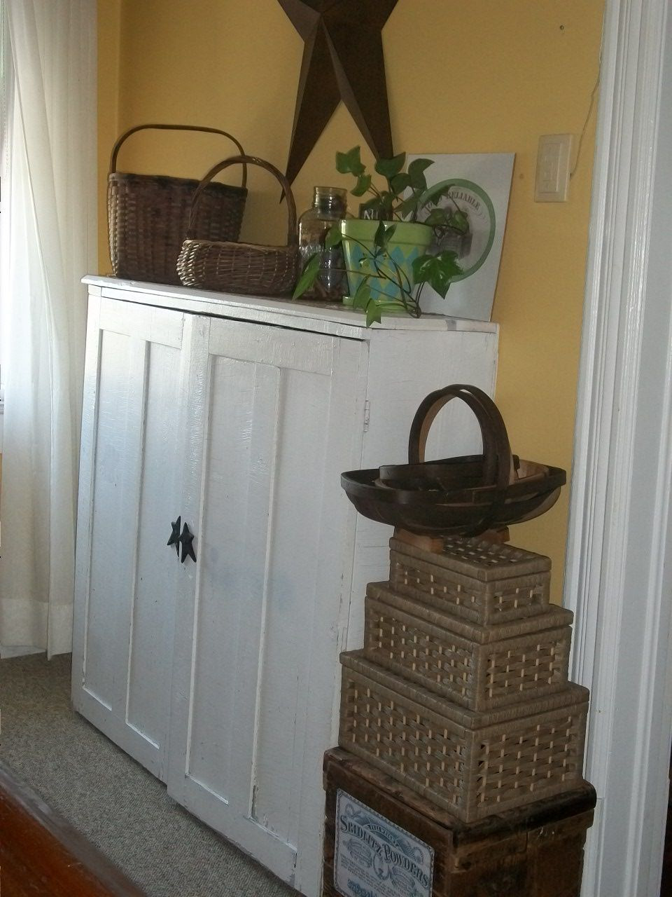 Best Idea Yet For Reusing Old Kitchen Cabinets Use This Idea For The One Up In The Hall By Girls Old Kitchen Cabinets Redo Furniture Cabinet Doors Repurposed