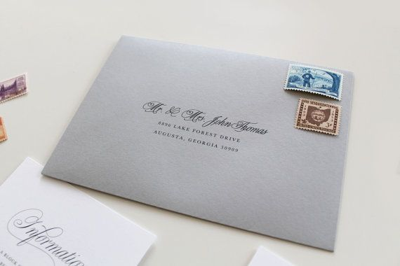 Traditional Wedding Envelope Printing Script Custom Addressing Gray W