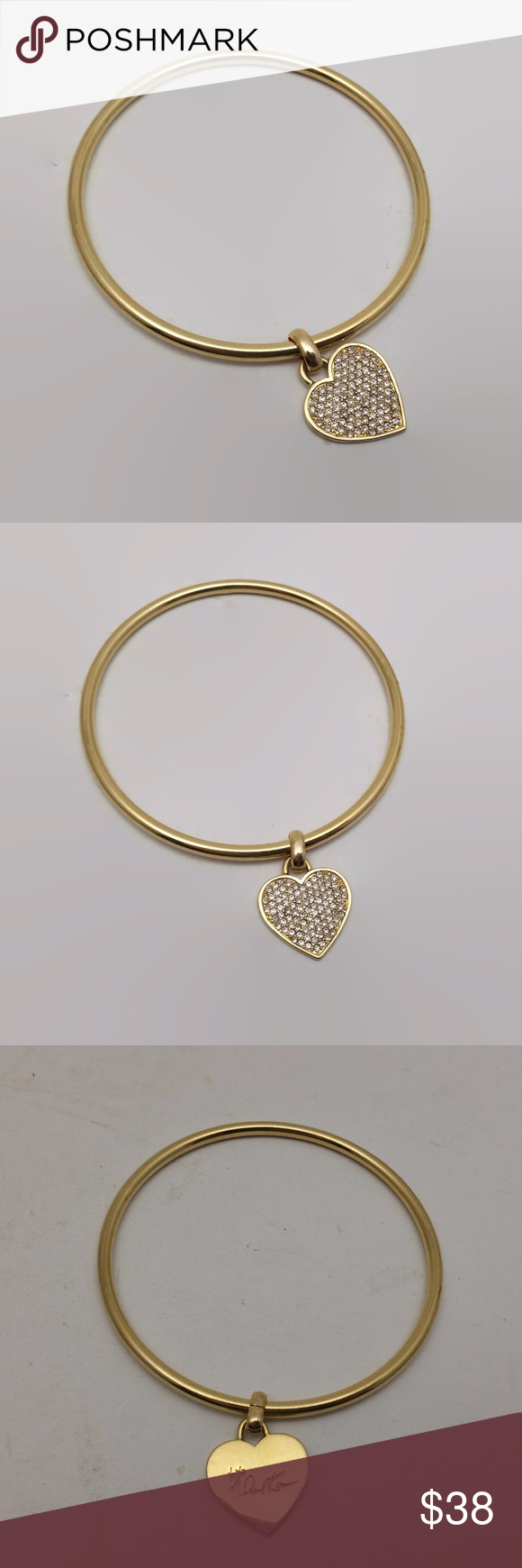 Michael kors pave rhinestone heart bangle bracelet michael kors