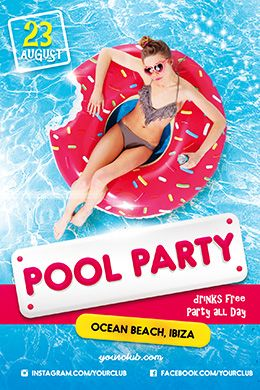 Pool Party Psd Flyer Template      Psd Flyer