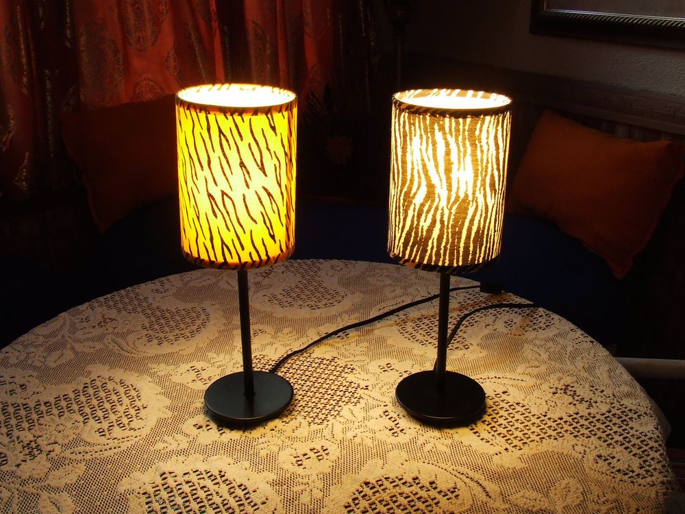 Metal Pole Table Lamps Zebra Print Shades 15 Tall 23 50 End