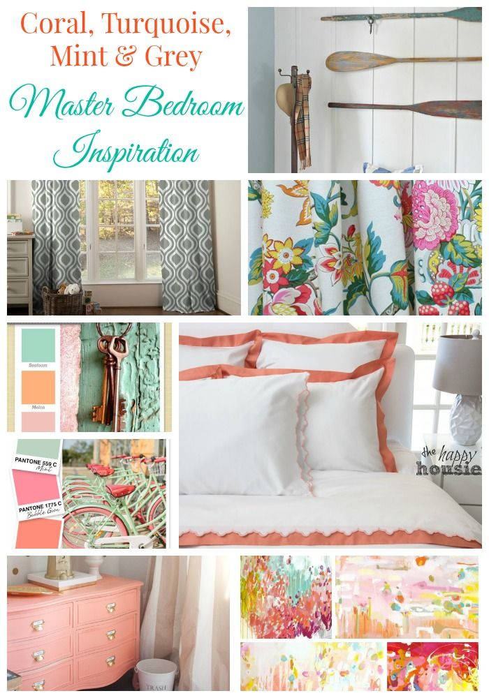 A Coral Turqouise Mint And Grey Master Bedroom Inspiration Board From Happy  Housie