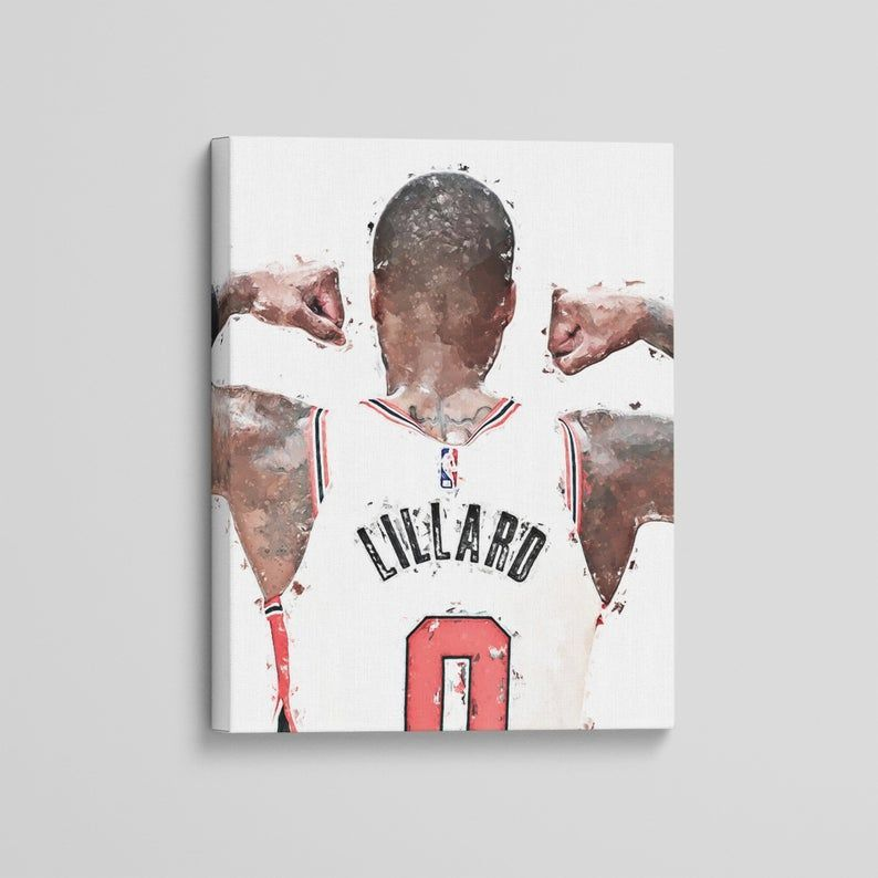 Damian Lillard Canvas Portland Blazers Art Print Modern Sports Basketball Painting Photography Decor Malvorlagen Mandala Malvorlagen Kunstdruck