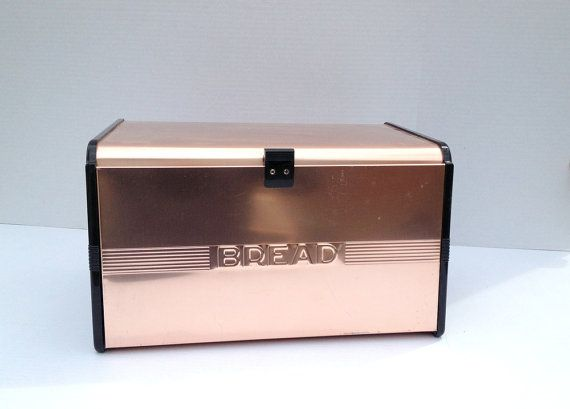 Vintage Bread Box Copper Bronze Styled With Roll Shelf Large Bread