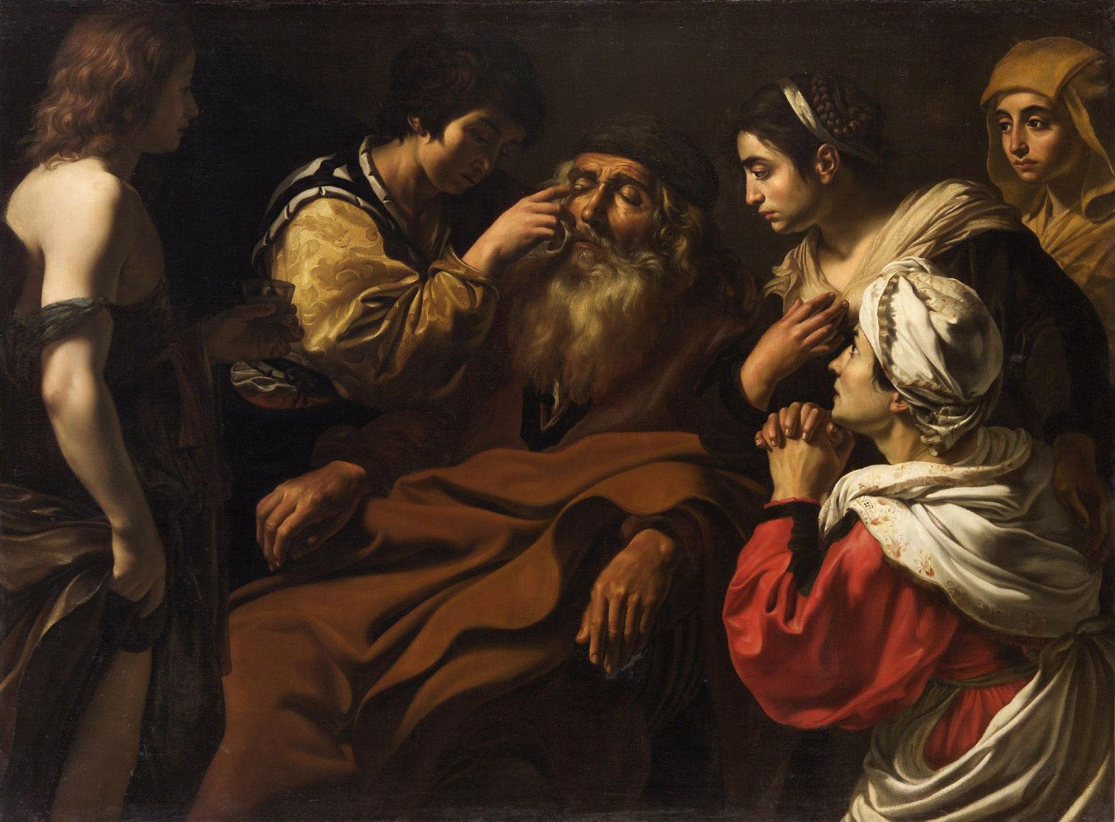 GERARD DOUFFET (attribuited). TOBIAS HEALS HIS BLIND FATHER . 1620 c. -
