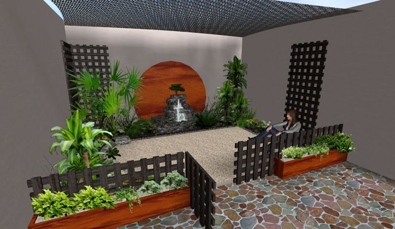 Ideas Decoraciones Para Jardines Pequenos Cerca De Madera Macetas Fuente Decoracion Patios Pequenos Ideas Para Decorar Jardines Decoracion De Unas
