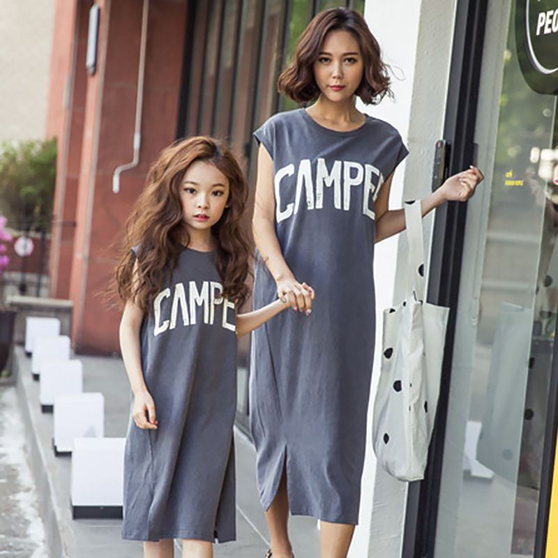 7b9f3c31b98 Summer casual Style Family Matching Outfits mother daughter Letter dresses  Contrast Vest Dress knee Length mother   kids clothes-in Family Matching  Outfits ...