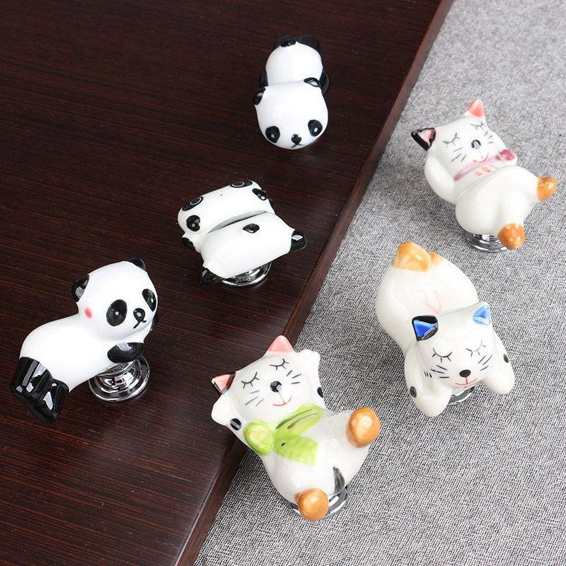 Children Drawer Knob Dresser Knobs Pulls Handles / Cute Animals Knobs  Kitchen Cabinet Knobs Ceramic Door