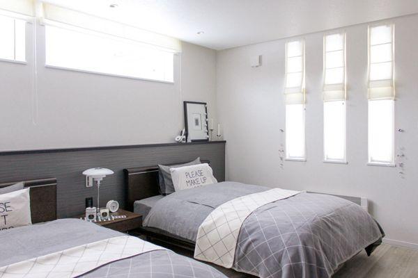 Web内覧会 寝室 グレー系のベッドメイキング コットンのふわふわブランケット 寝室 ホテルライク インテリア ベッドルーム おしゃれ