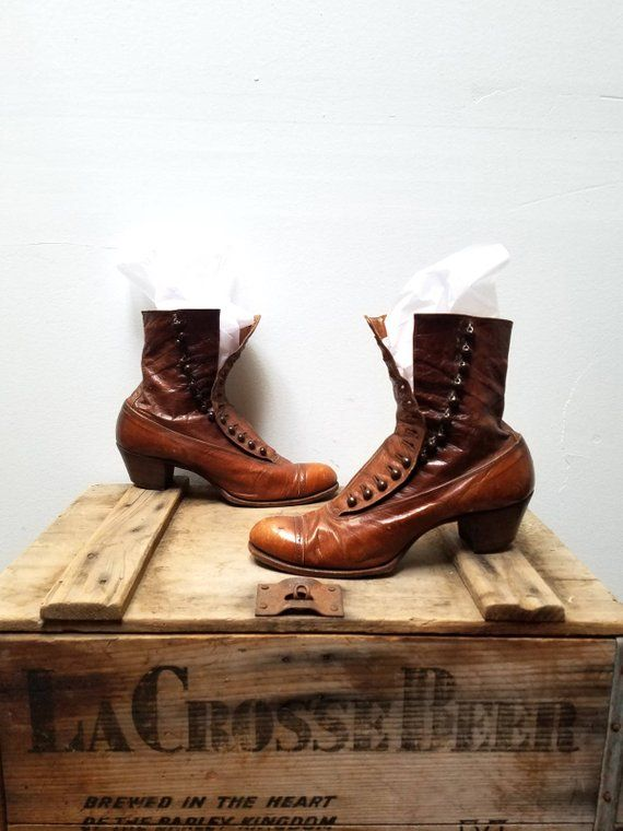 62fddedfa73 Brown Edwardian Womens Victorian High Button Boots