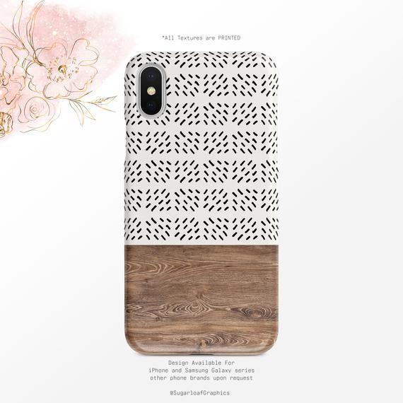 Boho Stripe Pattern Phone Case Wood Grain Pattern iPhone Case Samsung Case    Google Pixel Case
