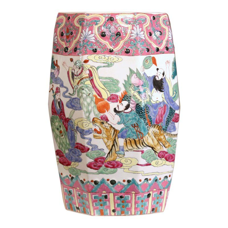 Mid20th Century Chinese Famille Rose Garden Seat is part of garden Seating Bohemian - This colorful vintage garden seat was created in China, circa 1970  The ceramic  Famille Rose  porcelain stool is pierced on the top and around the perimeter, and feature Chinese decor with people and dragons  The seat is in excellent condition with warm colors in the pink, green and blue palette  Place this piece indoors or out for extra, decorative extra seating in the chinoiserie style  Measure 11 5  diameter 18 25  height