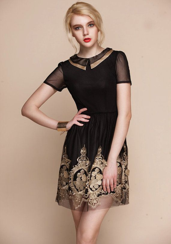 Baroque royal gold embroidery dress - - folk russian theme small black  coctail dress, new year party outfit elegant christmas tunique on Wanelo